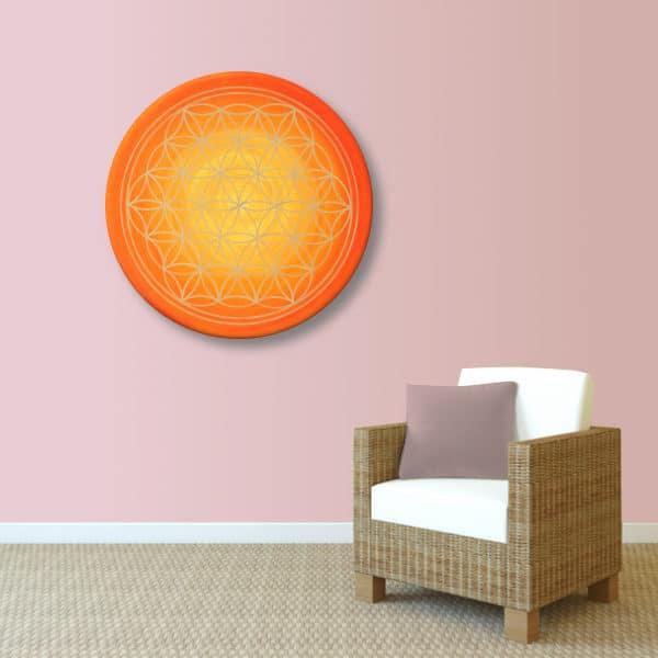 """Blume des Lebens Wandbild """"Sonnenaufgang"""" handgemalt auf runde Leinwand Größe 50 cm"""