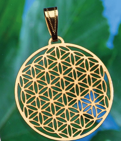 Anhänger Blume des Lebens 30 mm vergoldet