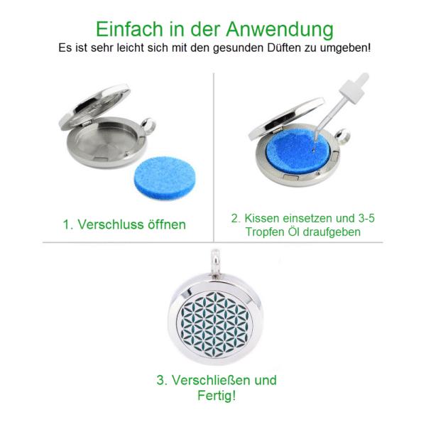 Aromatherapie - Blume des Lebens Anhänger Edelstahl - Größe 25mm - ätherisches Öl Halskette - Ketten Größe 60cm